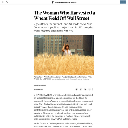 The Woman Who Harvested a Wheat Field Off Wall Street (Published 2018)