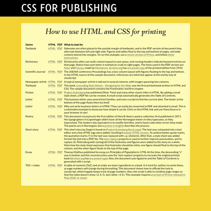 CSS for Publishing