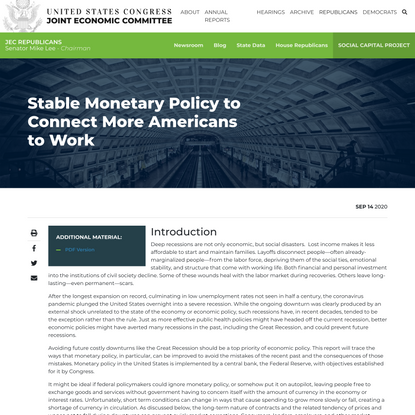Stable Monetary Policy to Connect More Americans to Work - Stable Monetary Policy to Connect More Americans to Work - United...