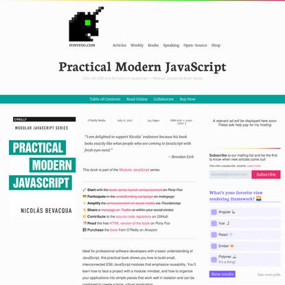 Practical Modern JavaScript (2017) — Pony Foo