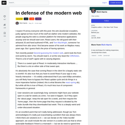 In defense of the modern web