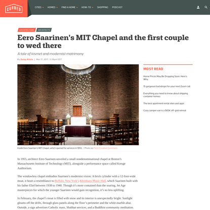 The tale of the first couple to wed at Eero Saarinen's MIT Chapel