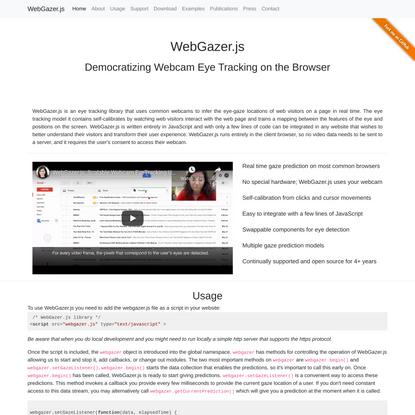 WebGazer.js: Democratizing Webcam Eye Tracking on the Browser