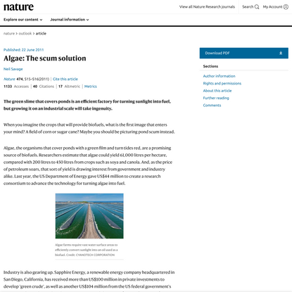 Algae: The scum solution