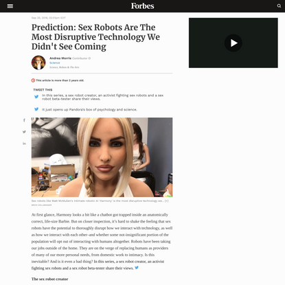 Prediction: Sex Robots Are The Most Disruptive Technology We Didn't See Coming