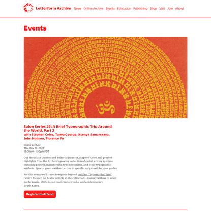 Salon Series 25: A Brief Typographic Trip Around the World, Part 2