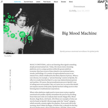 Big Mood Machine | Liz Pelly