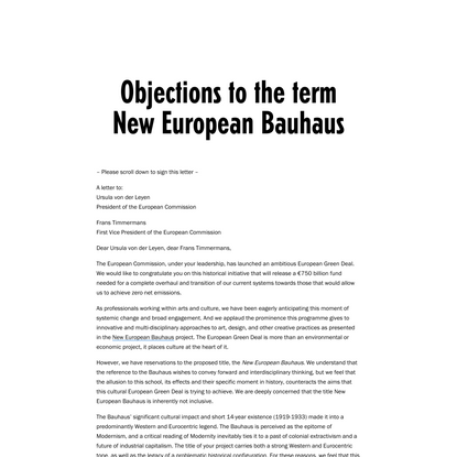 """Letter to object to the term """"New European Bauhaus"""" – Jan van Eyck"""
