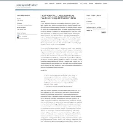 From WIMP to ATLAS: Rhetorical Figures of Ubiquitous Computing