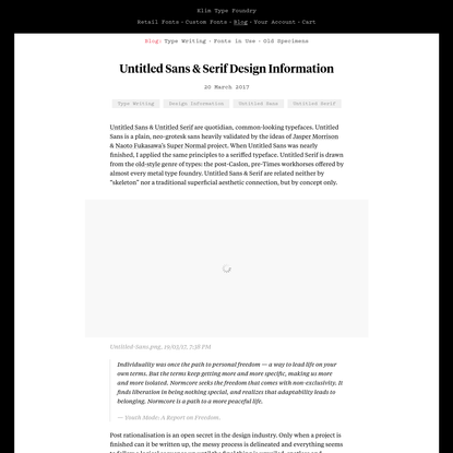 Klim Type Foundry · Untitled Sans & Serif Design Information