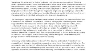 UVW DCW Statement on Culture Sector Support