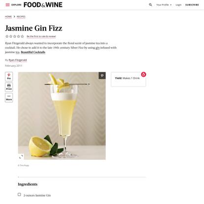 Jasmine Gin Fizz Recipe