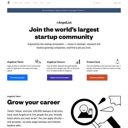 Find Startup Jobs and Invest in Startups