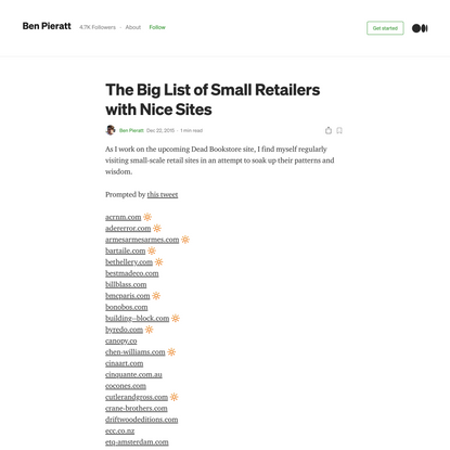 The Big List of Small Retailers with Nice Sites