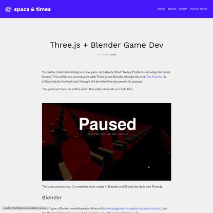 Three.js + Blender Game Dev