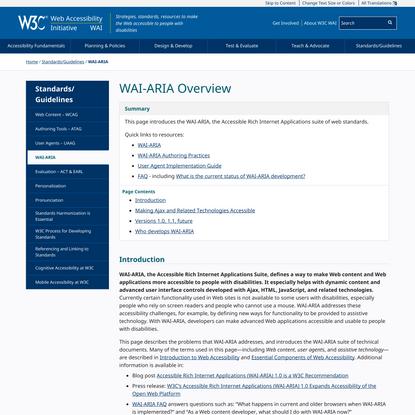 WAI-ARIA Overview