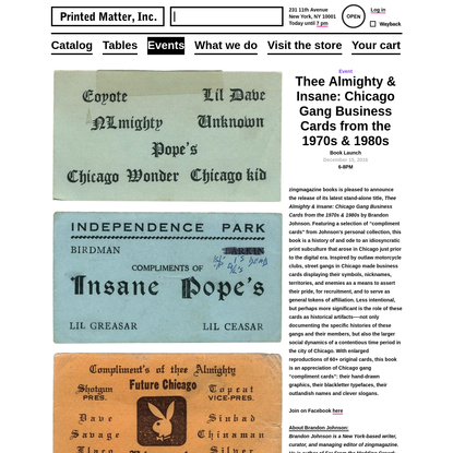 Thee Almighty & Insane: Chicago Gang Business Cards from the 1970s & 1980s - Printed Matter