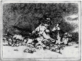 An intaglio print of an ML generated image. The image looks quite abstract, but resembles a pile of distorted bodies against a night sky