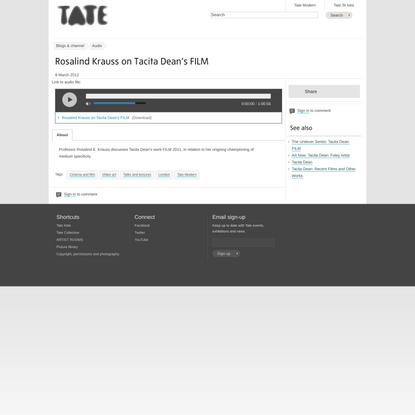 Rosalind Krauss on Tacita Dean's FILM | Tate