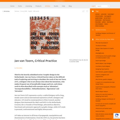 Typotheque: Jan van Toorn, Critical Practice by Peter Biľak