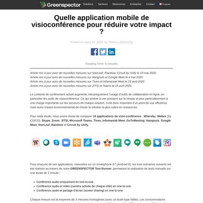 Quelle application mobile de visioconférence pour réduire votre impact ? - Greenspector