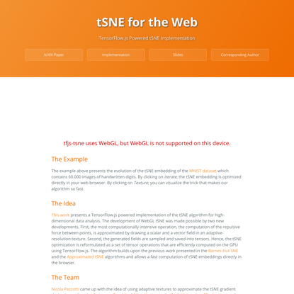 tSNE for the Web