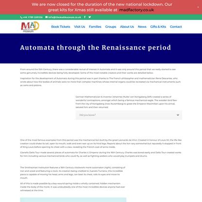 Automata through the Renaissance - The Mechanical Art & Design Museum