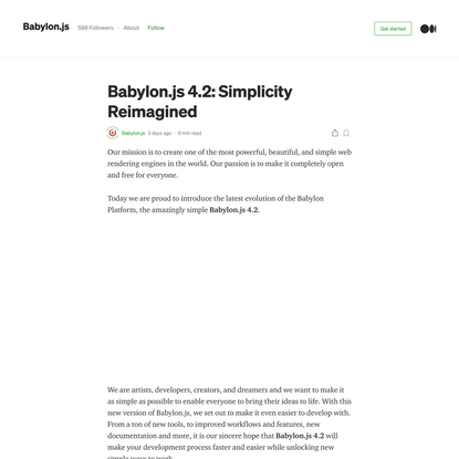 Babylon.js 4.2: Simplicity Reimagined