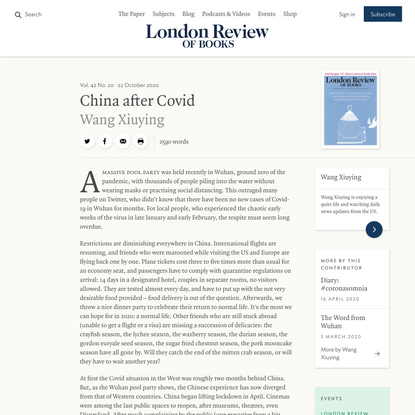 Wang Xiuying · China after Covid · LRB 22 October 2020