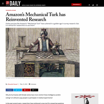 Amazon's Mechanical Turk has Reinvented Research | JSTOR Daily