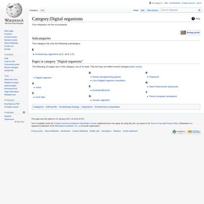 Category:Digital organisms - Wikipedia