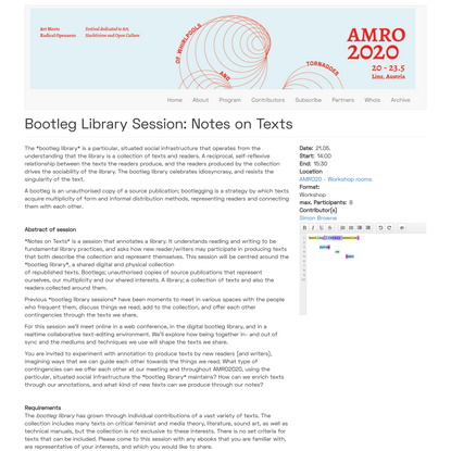 Bootleg Library Session: Notes on Texts | Art Meets Radical Openness