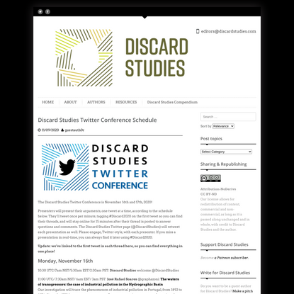 Discard Studies Twitter Conference Schedule
