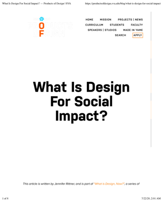 SVA: What Is Design For Social Impact?