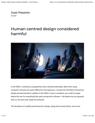 Human centred design considered harmful