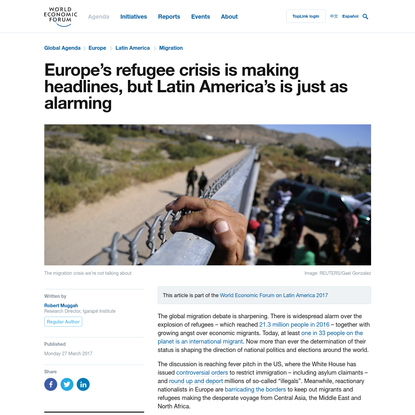 Europe's refugee crisis might make headlines, but Latin America's is just as alarming