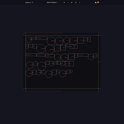 Matter.js Demo · code by @liabru