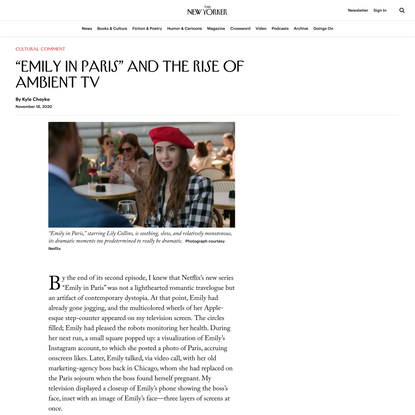 """Emily in Paris"" and the Rise of Ambient TV"