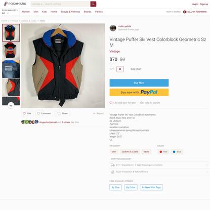 Vintage Puffer Ski Vest Colorblock Geometric Sz M