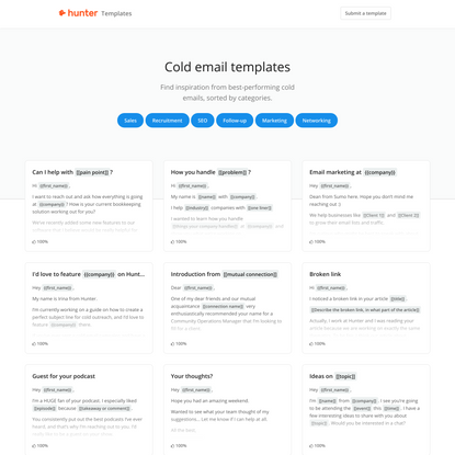 Templates - Directory of best cold email templates • Hunter