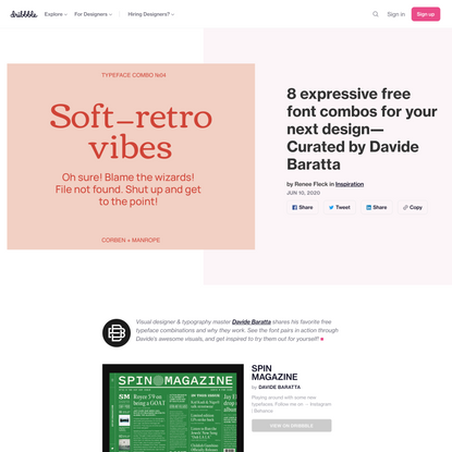 8 expressive free font combos for your next design—Curated by Davide Baratta | Dribbble Design Blog