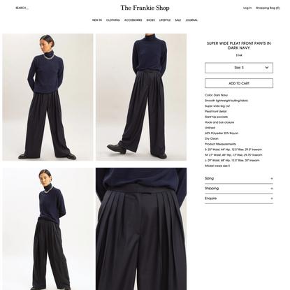 Super Wide Pleat Front Pants in Dark Navy