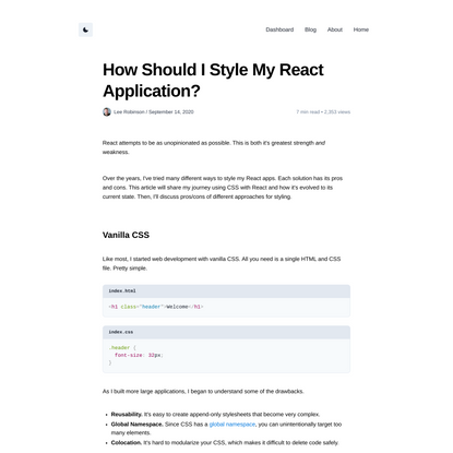 How Should I Style My React Application?