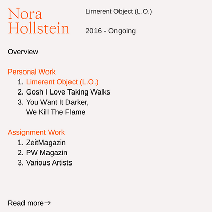 Limerent Object (L.O.) — Nora Hollstein