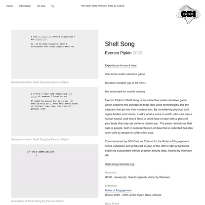 Shell Song - Data as Culture - ODI - The Open Data Institute