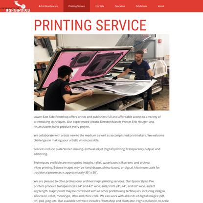 Printing Service - Lower East Side Printshop