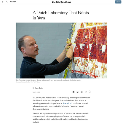 A Dutch Laboratory That Paints in Yarn (Published 2018)
