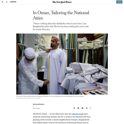 In Oman, Tailoring the National Attire (Published 2019)