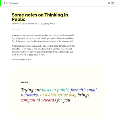 Some notes on Thinking in Public