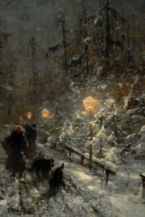 Ludwig Munthe, Snowy road with figures by lamplight